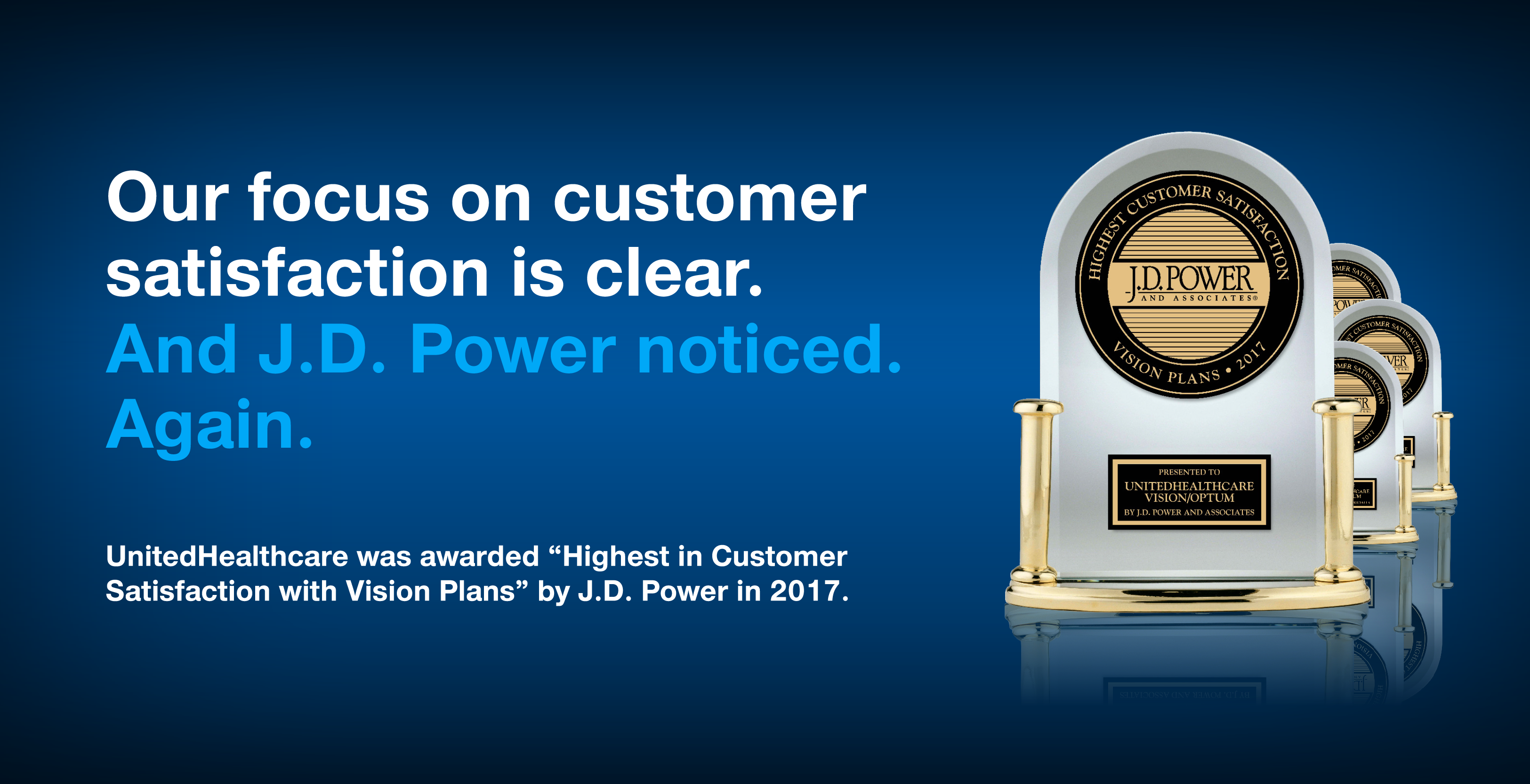 Our Focus on customer satisfaction is clear.  And J.D. Power noticed.  Again.  UnitedHealthcare was awarded
