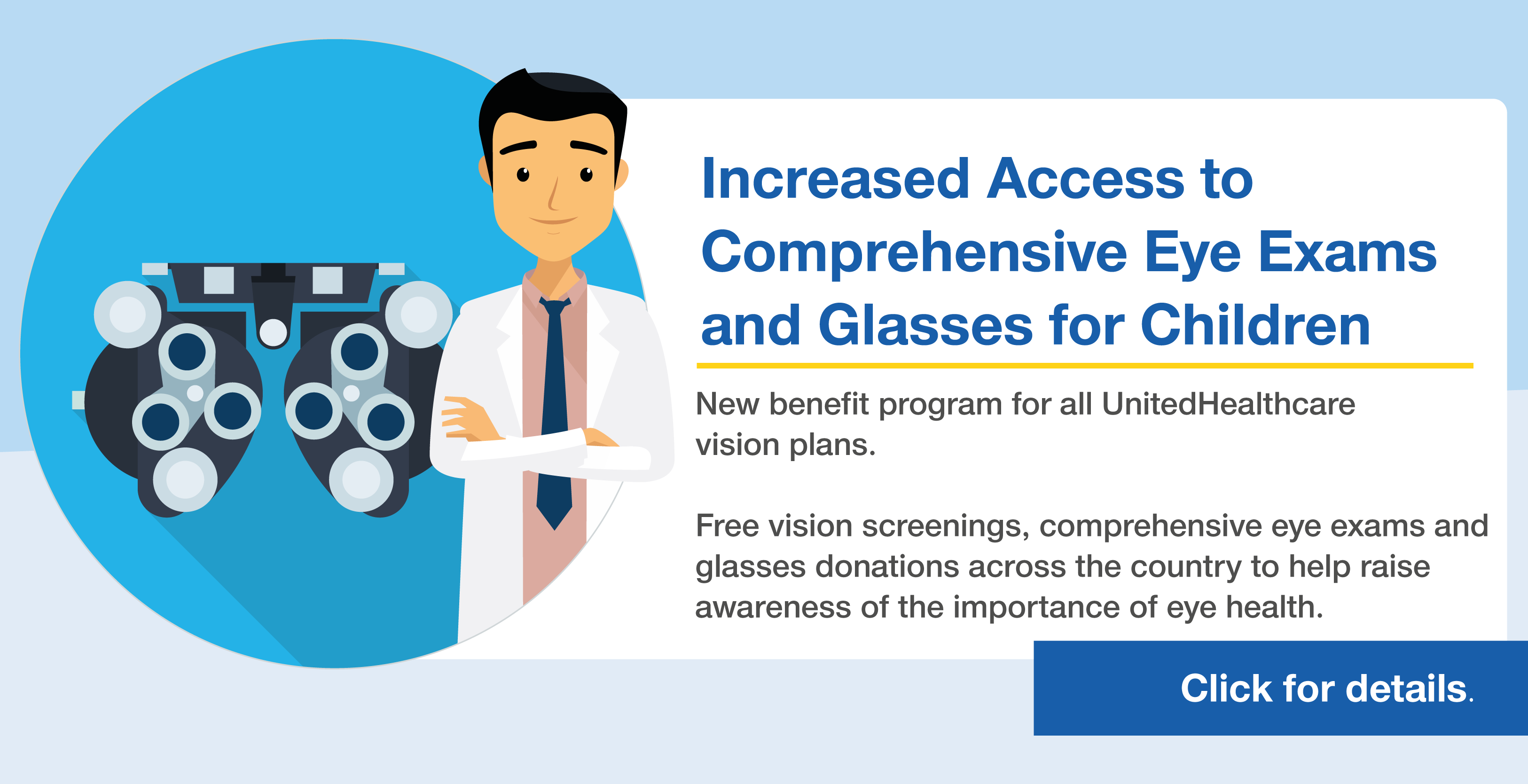 Increased access to comprehensive eye exams and glasses for children